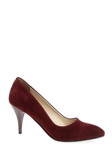 Derigo Derigo 7024 Stiletto Suni Deri Süet Kadın Ayakkabı Bordo